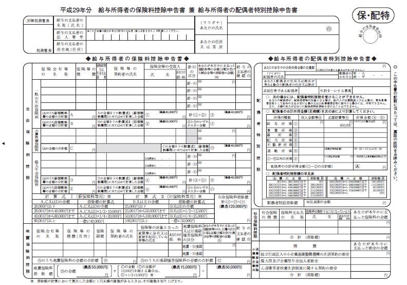 平成29年分配偶者控除等申告書