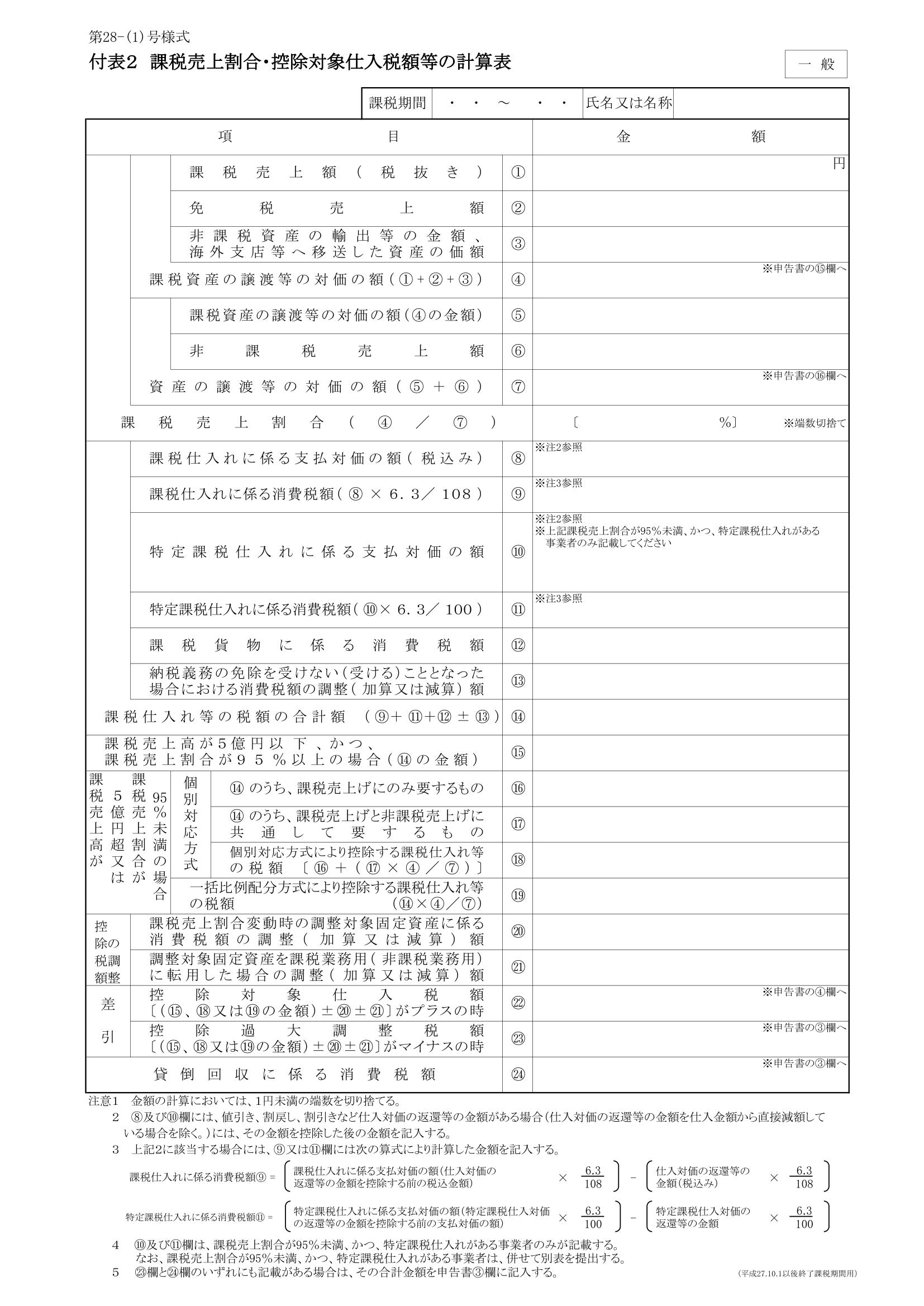 消費税申告書 付表
