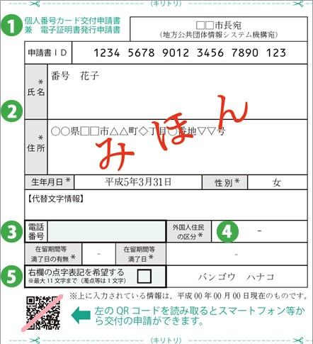 マイナンバー 個人番号カード交付申請書