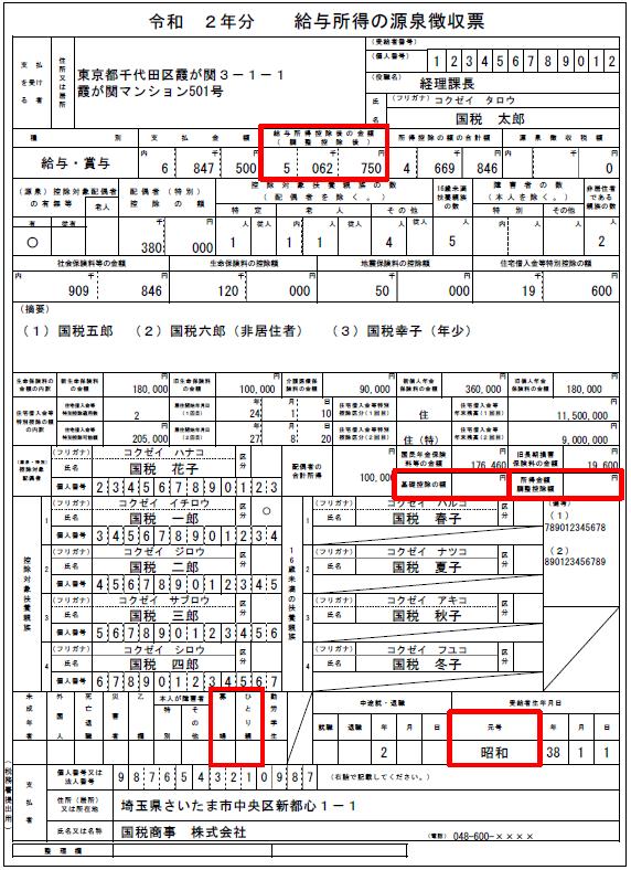 令和2年分 源泉徴収票の記載の仕方