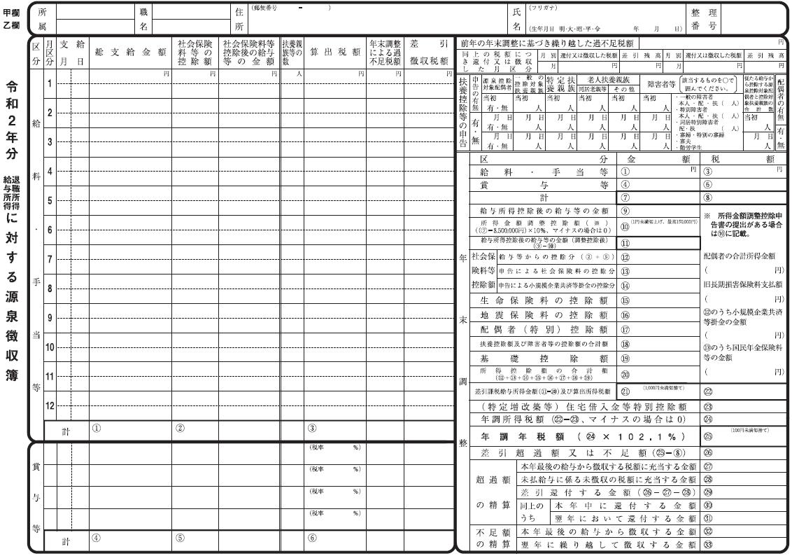 源泉徴収簿 令和2年分