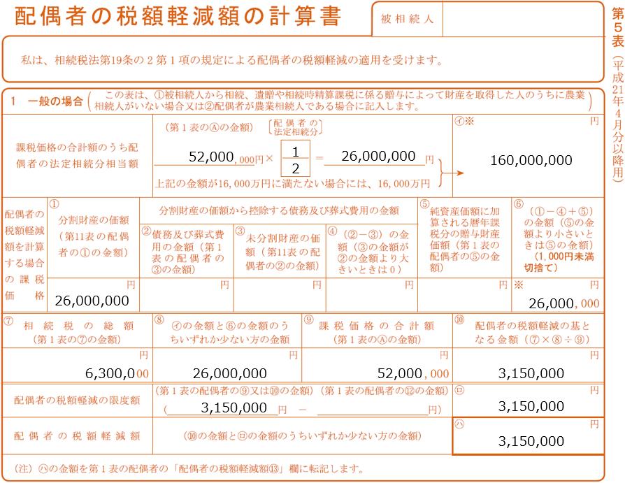 相続税申告書 第5表