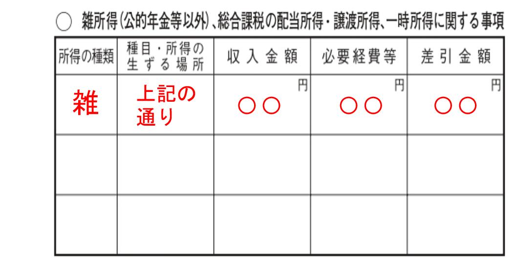 確定申告書 第二表 雑所得 ②