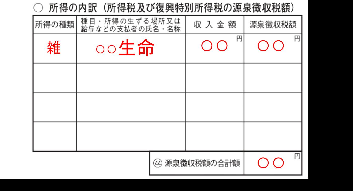 確定申告 第二表 雑所得 記入例